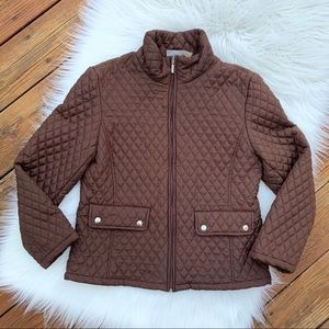 Jane Ashley Brown Quilted Coat Sz M